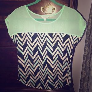 Fun mint and black chevron top!